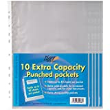 50 Pack of A4 Large Extra Capacity Strong Plastic Poly Punch Pockets Wallet Sleeves Clear Finish