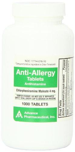 Chlorpheniramine Maleate anti-allergy advaced pharmaceuticl tablets, 4 mg - 1000 ea (Chlorpheniramine 1000 compare prices)