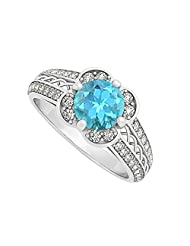 Created Blue Topaz And Two Rows Of Cubic Zirconia Criss Cross Fashion Ring 925 Sterling Silver