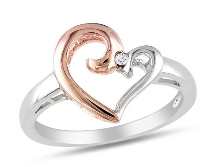 Pink Sterling Silver, Diamond Heart Shaped Ring, (.01 cttw, GH Color., I2-I3 Clarity)