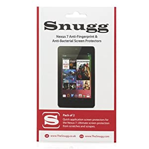Snugg Nexus 7 Anti Fingerprint and Anti Bacterial Screen Protectors (pack of 2) Ð Includes Microfiber Cloth and Anti Bubble Leveler