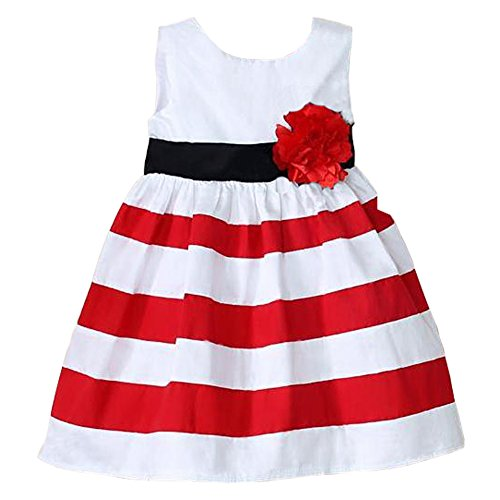 Baby Girl Princess Sleeveless Flower Tutu Dress Skirt Stripes Sun Dress (6-12 Months)