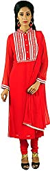 Aarshi Women's Chiffon Stitched Salwar Suit (KMD/DS/001/2713_L, Red, L)