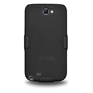 Amzer AMZ94947 Shellster Shell Holster Combo Case Cover for Samsung Galaxy Note 2 II N7100 - 1 Pack - Retail Packaging - Black