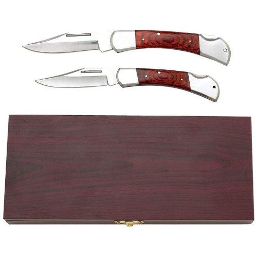 2Pc Lockback Knife Set In Wood Box