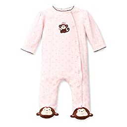 Little Me Baby-Girls Newborn Pretty Monkey Footie, Light Pink, 6 Months