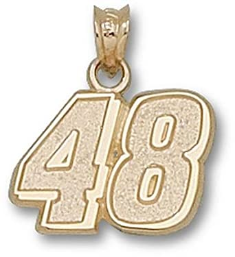 Jimmie Johnson Medium Driver Number 48 1 2 Pendant - 14KT Gold Jewelry by Logo Art