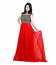 Vadaliya Enterprise Women's Embroidered Red Gown
