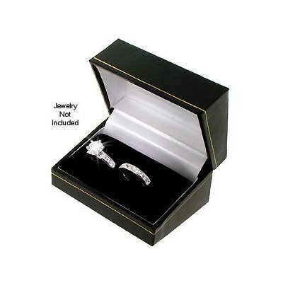 Classic Cartier Design Black Engagement Set Double Ring Gift Box