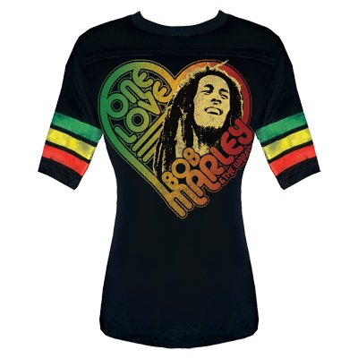 Bob Marley / Catch A Fire – One Love Football Womens T-Shirt in Black, Size: Medium, Color: Black
