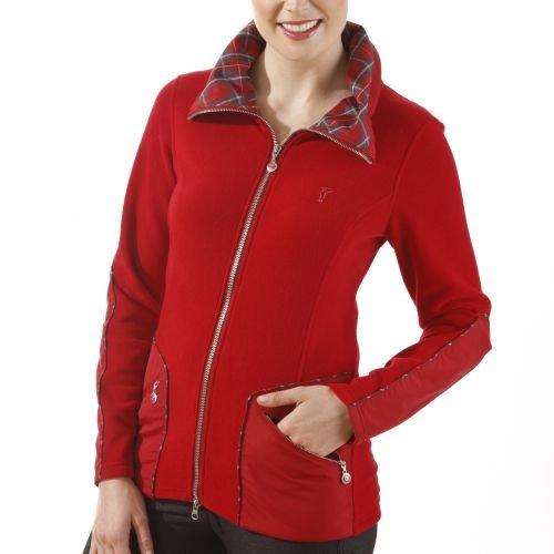 golfino-veste-polaire-avec-details-a-carreaux-femme-rouge