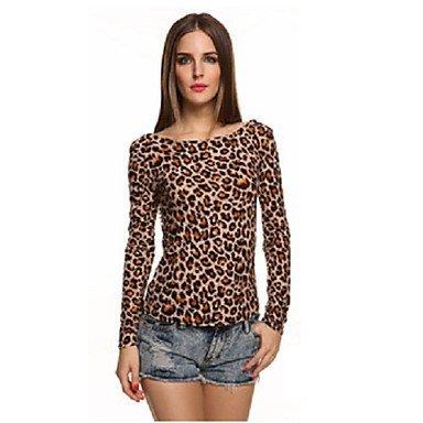 Camiseta Para Camisas Y De LeopardoColor Blusas Mujer Marrón gb76yf
