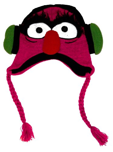 The Muppets - Unisex-Adult - Headphones Animal Big Face Peruvian Knit Hat Pink