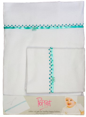 Poppet Handmade Embroidered Flannel Bassinet Sheets & PIllowcase Baby Gift Set Set