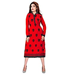 Fashion Bucket Red colored georgette kurti.