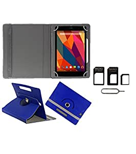 Gadget Decor (TM) PU Leather Rotating 360° Flip Case Cover With Stand For Videocon VA81 + Free Sim Adapter Kit - Dark Blue