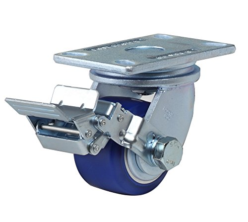 FOOTMASTER GF-100B-SF-MUD 4″ Diameter High Quality Polyurethane Top Plate Caster, Swivel with Wheel Brake, Dual HD Precision Bearing, 5-3/4″ Mounting Height, 6-1/4″ Plate Length, 4-1/2″ Plate Width, 1425 lb Capacity Range
