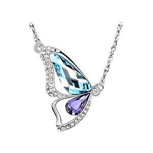 Collier Femme Papillon - Cristal - Bleu/Violet - 45 cm