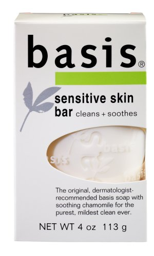 basis Sensitive Skin Bar, Cleans + Soothes, 4-Ounce