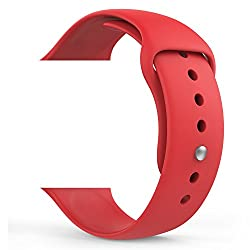 Apple Watch Band, MoKo Soft Silicone Fitness Replacement Sport Band for 38mm Apple Watch All Models, RED (3 Pieces of Bands Included for 2 Lengths, Not Fit Apple Watch 42mm version 2015)