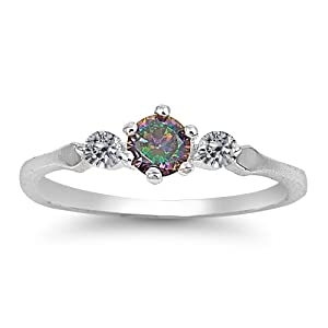 Sterling Silver Simulated Mystic Rainbow Topaz & Cz Ring - Size 4