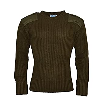 Blue Castle Crew Neck Combat Acrylic Jumper 120 Army Security Military Police Shoulder epaulettes Elbow & Shoulder patches Olive Size M