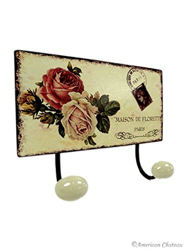 NEW Metal Roses SIGN PLAQUE Paris HOOKS French Kitchen Wall Double Hook Rack