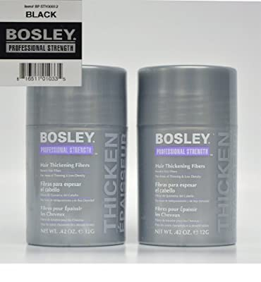 Bosley Hair Thickening Fibers Keratin Hair Fibers .42 oz (Black) 2 Pack