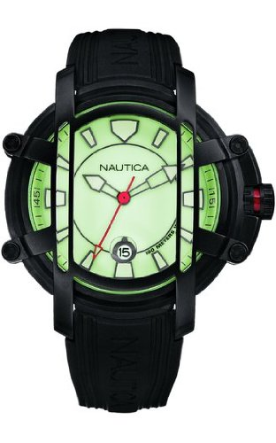 Nautica NMX300 Green Dial with Black PU Strap Watch -A36006X