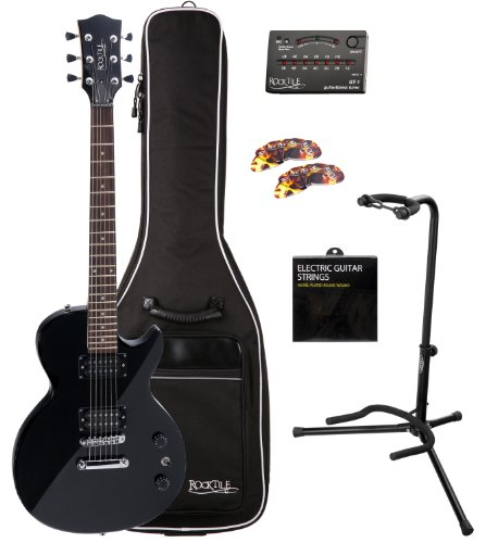 rocktile lp 100 guitare lectrique noir bl set housse pour cordes support packs guitare. Black Bedroom Furniture Sets. Home Design Ideas