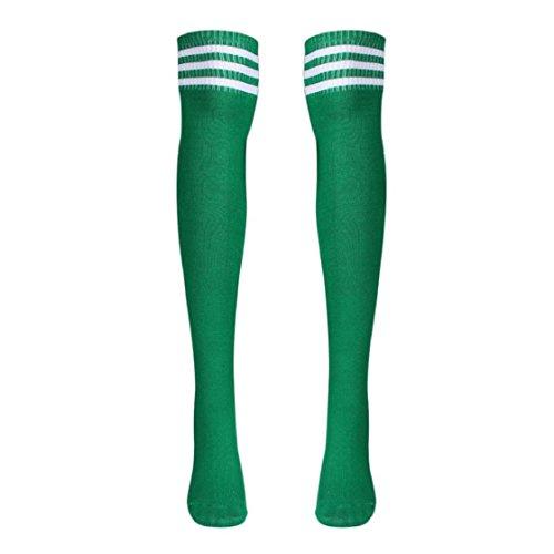 Sannysis® Ragazze coscia sottile Alti Sopra il ginocchio Calze da Calcio (Verde)