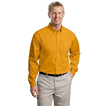Port Authority Long Sleeve Easy Care Shirt, Athletic Gold and Light Stone, XS