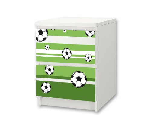 Football Sticker-Set for Nursery Chest of Drawers / Bedside Cabinet MALM from IKEA - NS14