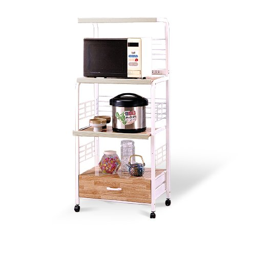 White Kitchen Rolling Microwave Cart With Power Strip - Great For Rvs And Boats!