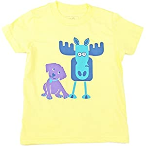 Jessy & Jack Gender-Neutral Kids' Dog and Moose Toddler Tee 3-4T Lemon