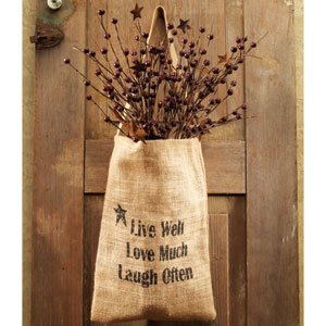 Vintage Hanging Burlap Bag - Live Well Love Much Laugh Often (8-in x 12-in)
