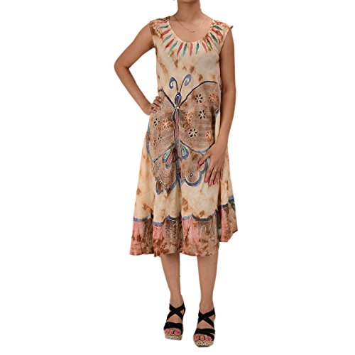 Skirts & Scarves Rayon Butterfly Caftan Tie N Dye Embroidered Sleeveless Dress For Women (Brown)