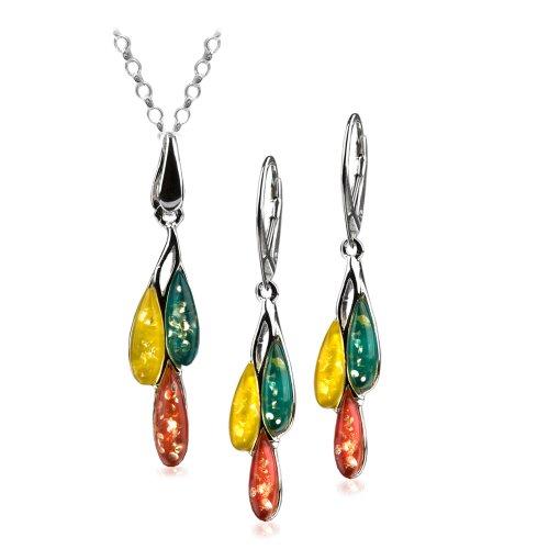 Blue Scarlet Lemon Amber Sterling Silver Pandora Dreams Necklace Earrings Set