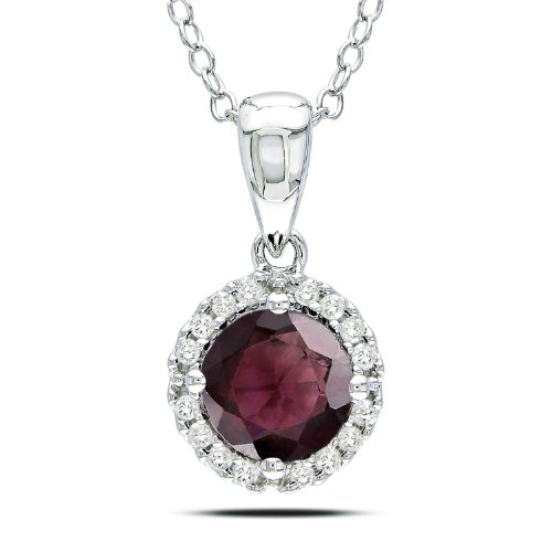 Sterling Silver 4/5 CT TGW Garnet 1/10 CT TDW Diamond Fashion Pendant (G-H, I3)