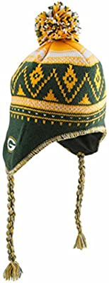 Reebok Green Bay Packers Braided Knit Hat with Pom One Size Fits All