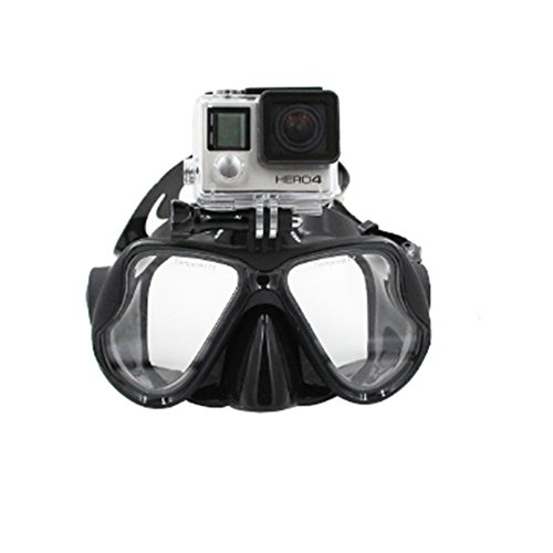 Telesin Dive Mask w/ Mount Scuba Diving and Snorkeling Mask for GoPro Hero 4 3+ 3 Camera, Black