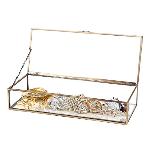 Vintage Style Brass Metal & Clear Glass Mirrored Shadow Box Jewelry Display Case w/ Hinged Top Lid (Gold Storage Box With Lid compare prices)