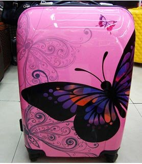 2 Pcs 24'' & 20'' Medium & Small, Hold & Cabin Size Hand Luggage Trolley Suitcase Set Butterfly by TRAVEL CONCEPT