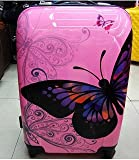2 PCS 24'' & 20'' MEDIUM & SMALL, HOLD & CABIN SIZE HAND LUGGAGE TROLLEY SUITCASE SET BUTTERFLY