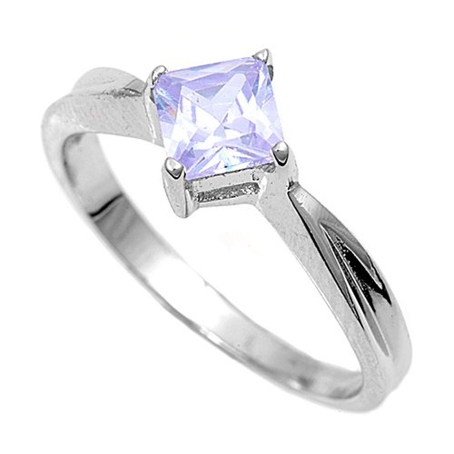 Sterling Silver Baby Ring with Lavender CZ - 2mm Band Width - 7mm Face Height - Sizes: 1-4, 2