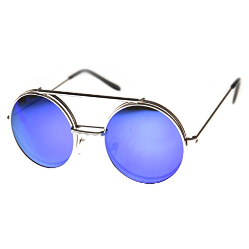 f278536b18 zeroUV - Limited Edition Mirror Flip-Up Lens Round Circle Django Sunglasses  (Gold Ice