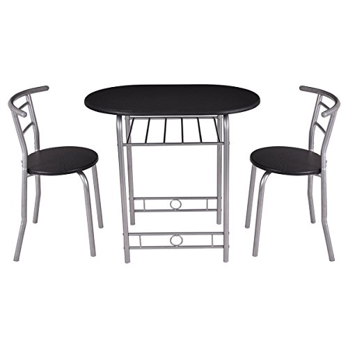 Giantex 3 PCS Bistro Dining Set Table and 2 Chairs Kitchen Furniture Pub Home Restaurant (D Piece Kitchen Table Set compare prices)