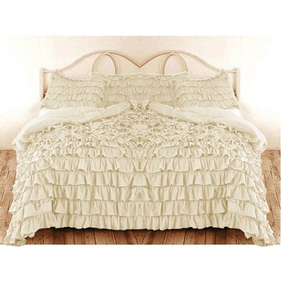400 Tc 3 Pc Queen / Full Size Waterfall Ruffle Duvet Set In Solid Ivory By Jay'S Home Goods front-964752