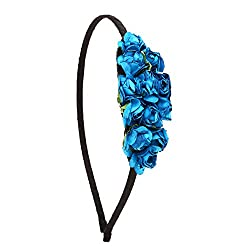 Embellished Blue Paper Flower Hair Band For Girls/Kids