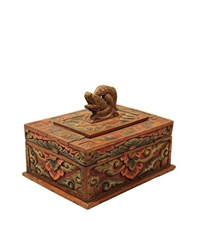 Asian Loft Hand-Carved Wooden Balinese Box, Multi